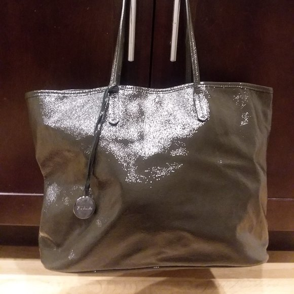 Furla Patent Leather Tote- Olive Green